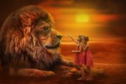 lew, dzieci, potęga, łagodność